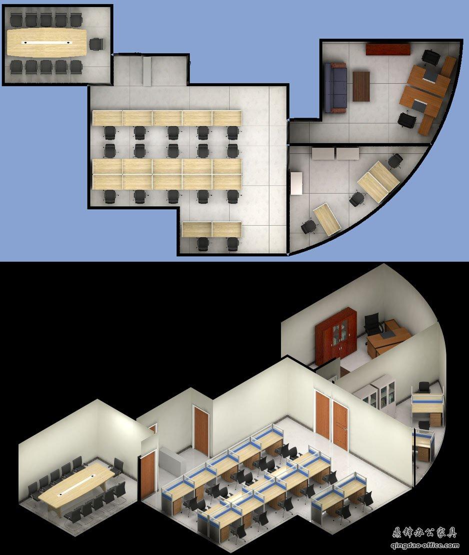 办公家具效果图,此案例位于青岛崂山区海尔路裕龙大厦A座户型,房间是个半圆形,利用率不是很理想,两个带弧形的房间,一个是经理室,一个是财务室,经理室为两个1.8米班台对面放置,旁边为一组五门书柜,旁边一个长条沙发,一个木头茶几,班台旁边是大玻璃窗,平时可以看窗外风景!