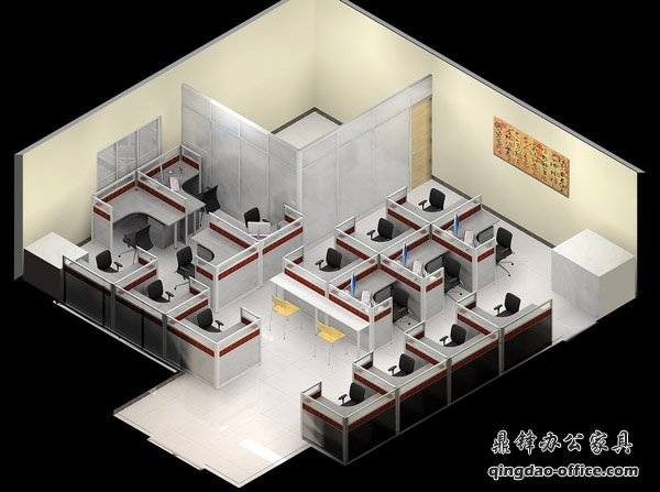 辦公家具效果圖之顏色搭配