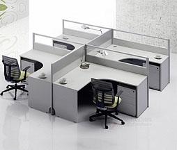 干字型四人组合隔断办公桌K01