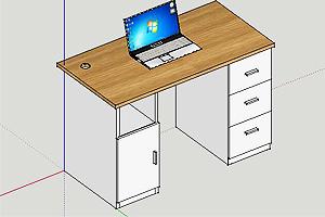sketchup如何绘制三维办公桌?